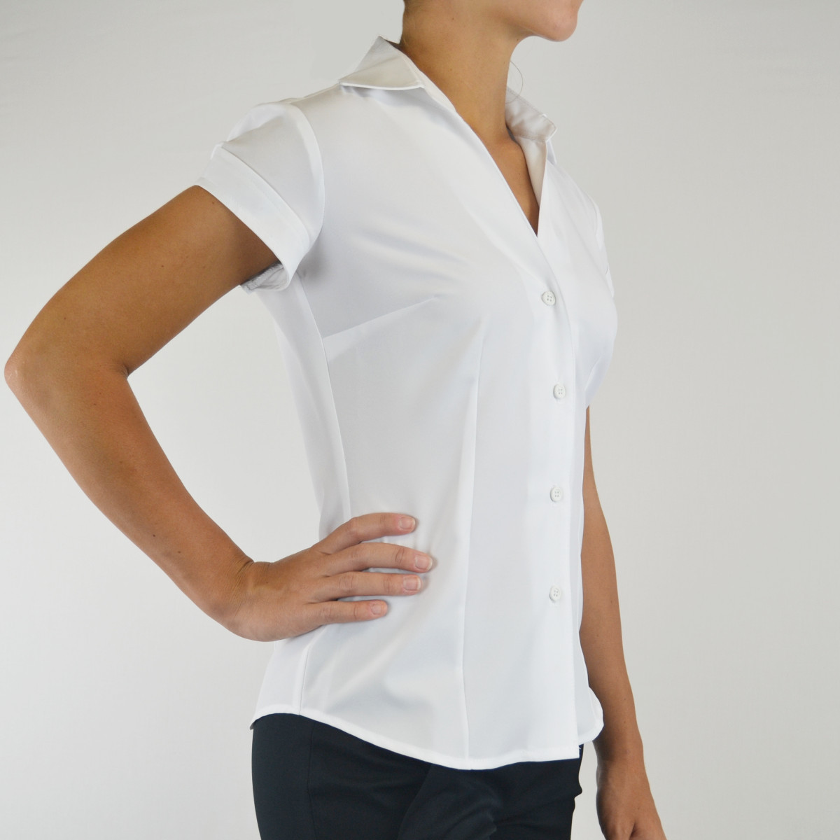 Womens Cap Sleeve V-neck Blouse Z